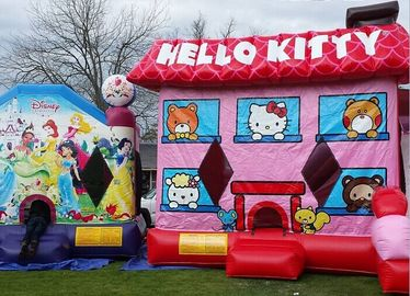 Pink Hello Kitty Inflatable Bouncer , Blow Up Kids Bouncy Castle For Backyard Fun